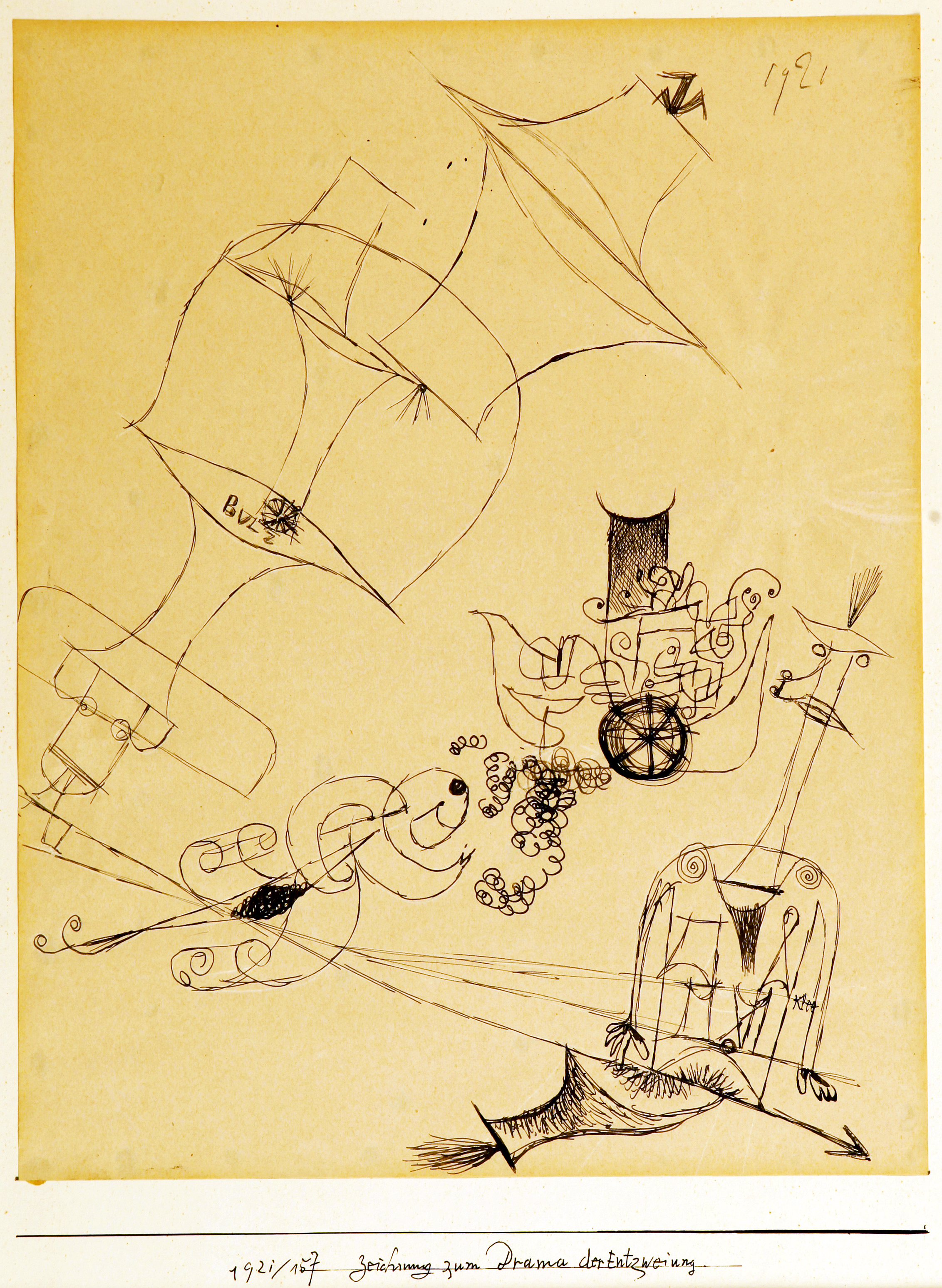 Image 3 Paul Klee Drawing for a Drama of Disunion, ink on paper, 1921
